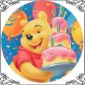 095 Opłatek kubuś Puchatek z dużym tortem na urodziny