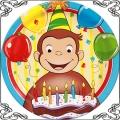 098 Opłatek Małpka George z balonikami i świeczki