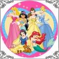 48 Opłatek na tort z księżniczkami Disneya na różowym tle