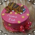 110 Tort z rudym kotem na 8 urodziny różowe tło