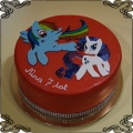 118 Tort kucyki pony Rainbow Dash i Rarity na plasko