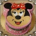 124 Tort myszka Minnie 2D z czerwoną kokardą na różowym tle