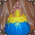 22 Tort lalka niebieska i żółta sukienka