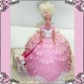 24 Tort dla dziewczynki  z lalką Barbie z pieskiem w różowej sukni Cukiernia Pod Arkadami Kraków