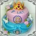 28 Tort dla dziewczynki dwupiętrowy z księżniczkami Disneya i koroną Cukiernia Pod Arkadami Kraków