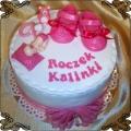 60 Tort dla dziewczynki z różowymi bucikami na roczek Cukiernia Pod Arkadami Kraków