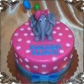 114 Tort ze słoniem z balonikami i różową kokardką