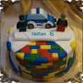 123 Tort lego figurki  policja auto policjant strażak klocki