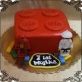 126 Tort w kształcie klocka lego oraz figurki lego ninjago na 2 urodziny