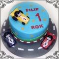 4 Tort z autami wyścigowymi na torze torty dla chłopców Cukiernia Pod Arkadami