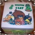 57 Tort Angry Birds wydruk na opłatku w formie kwadratu