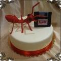 42 Tort firmowy duża czerwona mrówka i dyskietka rejestr