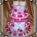 26 Tort na chrzest dla dziewczynki różowy piętrowy Cukiernia Pod Arkadami Kraków