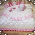 38 Tort biała pikowana poduszeczka ze smoczkiem i klockami dla dziewczynki na chrzest