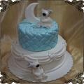41 Tort dwa białe misie księżyc piętrowy na chrzest lub roczek z lukru