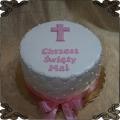 54 Tort na chrzest święty z krzyżem dla dziewczynki  różowy minimalistyczny
