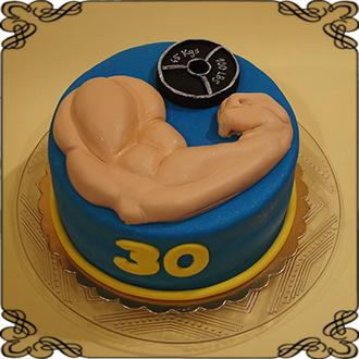 e80973bbc2ca57 147 Tort dla mięśniaka z siłowni , spory biceps hantle na 30 urodziny