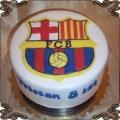 50 Tort okrągły z herbem FC Barcelona na białym tle