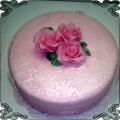11 Tort okolicznościowy z wzorkiem różowy z różowymi różami Cukiernia Pod Arkadami Kraków