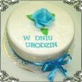 39 Tort klasyczny na urodziny z niebieską różą Cukiernia Pod Arkadami Kraków