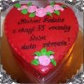 53 Tort w kształcie serca czerwony na rocznicę ślubu