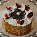 74 tort klasyczny  w posypce miodowej i  bitej śmietanie z perłą z czakolady