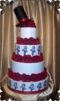 11 Tort na ślub z czerwonymi różami z kapeluszem Torty Artystyczne Cukiernia Pod Arkadami Kraków