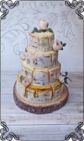 16 tort weselny motyw brzozy na pniu