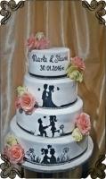 22 tort historia miłosna malowany ręcznie i żywe kwiaty