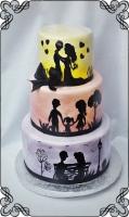 23 tort kolorowy historia miłosna styl angielski ręcznie malowany