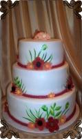 47 Tort weselny z malowanymi kwiatami oraz kwiatami z lukru  folkowy  Cukiernia pod arkadami kraków