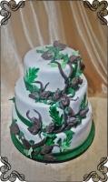 53 tort weselny leśny gałęzie szyszki