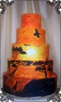 55 Tort weselny ręcznie malowany zachód słońca  Krakowskie Torty Artstyczne