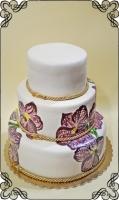 60 tort ślubny ręcznie malowane kwiaty  i złote motywy