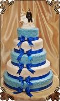 77 tort weselny biało niebieski 5 poziomów z figurką piętrowy