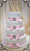 30 tort ślubny pikowany kokardki spinki