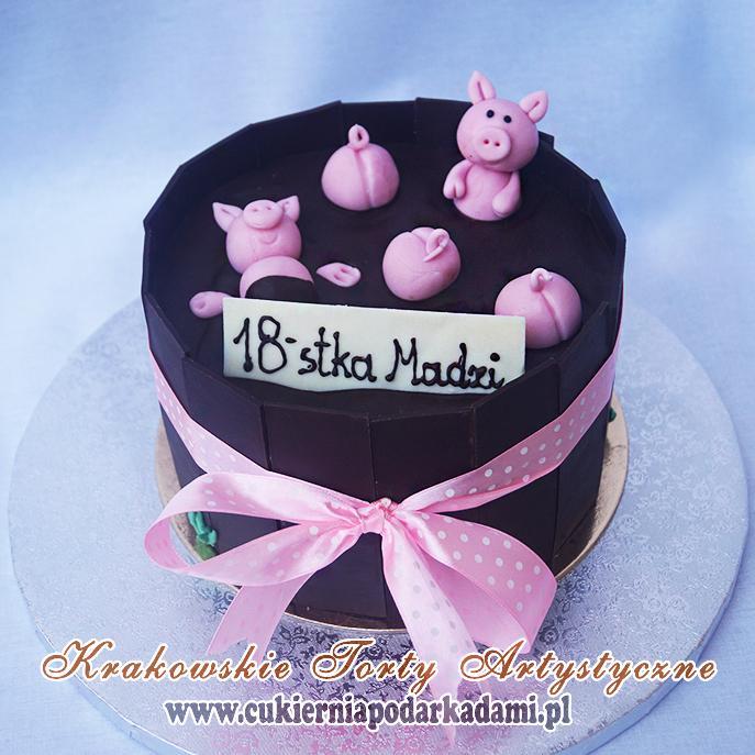 Tort Czekoladowy Na 18nastkę Dla Dziewczyny Ze świnkami