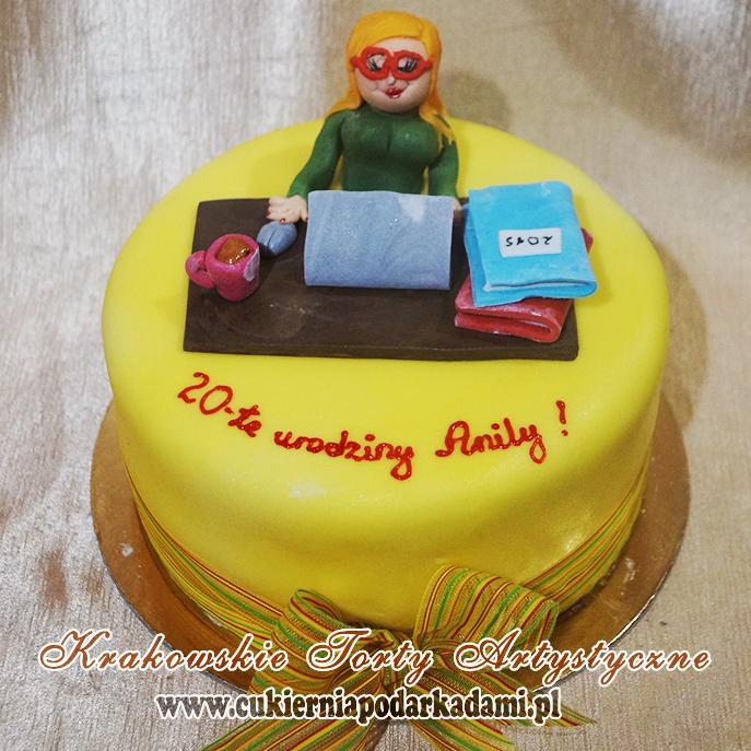 1619c61fd31e6d Bananowy tort na 20ste urodziny dla przyszłej księgowej.