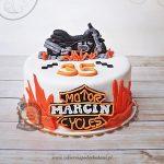 Tort z motorem Harley Davidson ozdobiony płomieniami