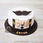Tort dla hipstera biała koszula z szelkami retro muszką i wąsami