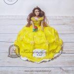 Tort z lalką Bella z bajki Piękna i Bestia