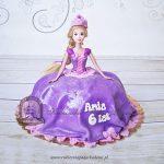 Tort z lalką Roszpunka z bajki Zaplątani