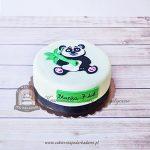 Tort z pandą i bambusową gałązką