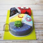 156BD Tort w kształcie cyfry 5 z superbohaterami_ SpiderMan IronMan Captain America Hulk Thor