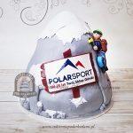 Tort firmowy dla sklepu górskiego - wspinacz na ośnieżonej górze