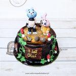 Tort Niesamowity Świat Gumballa - Gumball i Anais Watterson, dekoracja z listków bluszczu i muchomorków