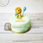 Tort na roczek z lwem i balonikiem