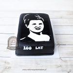 Czarno-biały tort ze zdjęciem kobiety