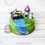 Tort Dolina Muminków z figurkami Panny Migotki, Włóczykija i Małej Mi oraz domkiem Muminków,