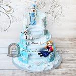 Piętrowy lodowy tort z figurkami Elsy Anny i Olafa - Frozen Kraina Lodu